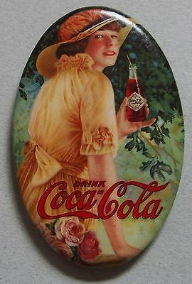 Very Rare 1916 Coca Cola Celluloid Advertising Pocket Mirror Beautiful Girl Mint