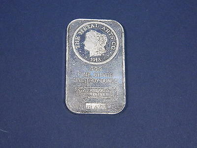 The Metal Arts 1 Troy Oz .999 Fine Silver Bar  With Sn