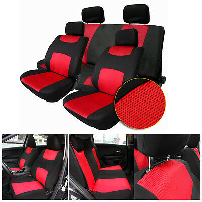 Universal 1 Set Car Seat Cover For Front/Rear Seat Headrest Covers Black + Red
