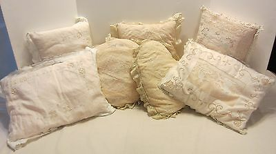 6 Antique Victorian Tambour Embroidered Lace & Mesh Small Pillows France