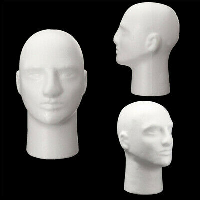 Male Polystyrene Styrofoam Foam Head Model Stand Wig Hair Hat Mannequin Display