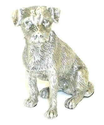 Faithful Friends Border Terrier Sitting Solid Pewter Dog Figurine Free Shipping