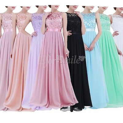 Womens Lace Wedding Dress Prom Evening Party Cocktail Bridesmaid Long Gown 4-16
