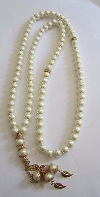 Brand New Pearl Cream & Gold TASBIH MISBAHA MUSLIM ROSARY WORRY 99 BEADS