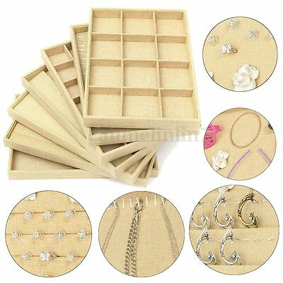 New Backcloth Stackable Grid Jewelry Tray Showcase Display Organizer Case Box UK