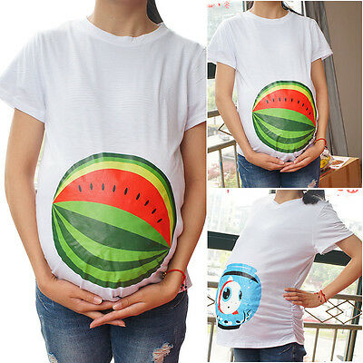 Funny Pregnant T Shirt Cute Fish Tank Maternity Casual Tops New Mom Photo Prop