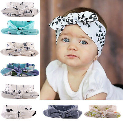 USA Newborn Baby Kids Girls Rabbit Bow Headband Hairband Headwear Turban Knot
