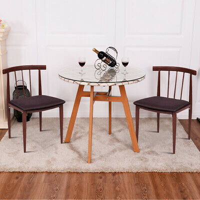 3Pcs Glass Top Round Table Dining Set with 2 Chairs Home Patio Yard Garden New