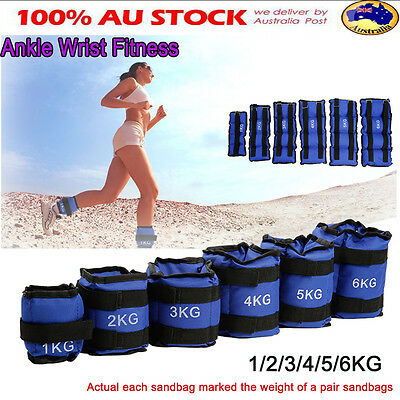 1 2 3 4 5 6kg Adjustable Ankle Wrist Fitness Weights Strap Exercise Gym Training