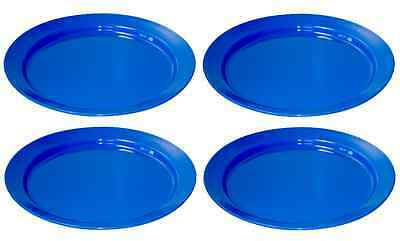SET 4  BLUE STRONG PLASTIC PLATES PICNIC CAMPING FOOD 25cm DINNER DISHES RY643