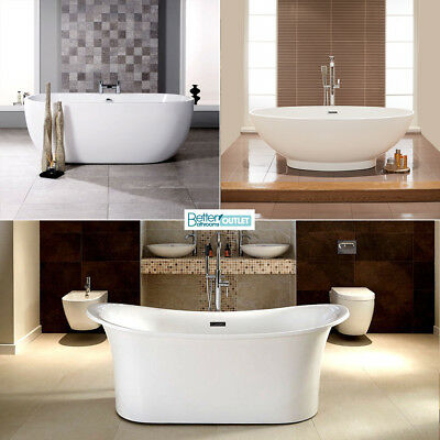 Freestanding Bath Tubs ; Single/Double Ended ; White Acrylic ; Roll Top Slipper