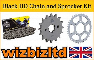 Black Heavy Duty Chain & Sprocket Kit Honda CG125 Brazil 1985-92 KITSSS0014