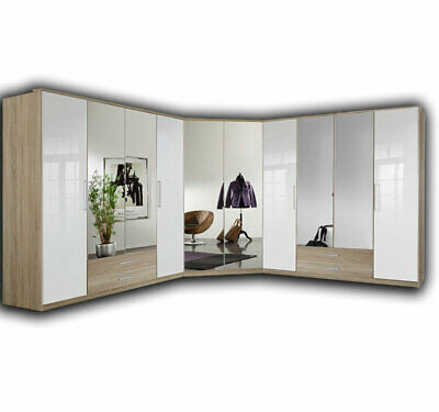 eckschrank elan kleiderschrank schrank schlafzimmerschrank in wei hochglanz eur. Black Bedroom Furniture Sets. Home Design Ideas
