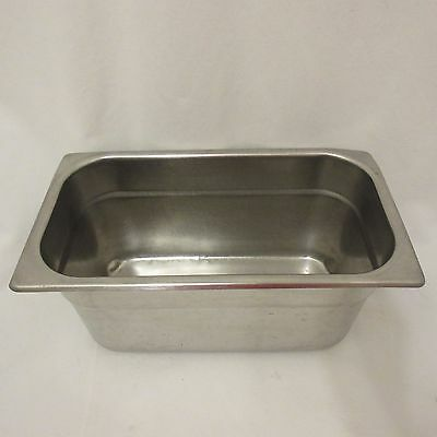 """Steam Table Pan 6"""" Deep 1/4 Size Holds 52 2 Ounce Portions NSF Stainless Steel"""