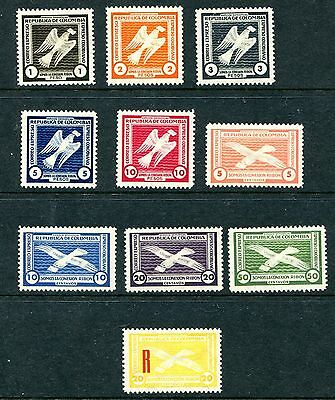 Colombia. Semi Official Postal Express Air Mail Set Of 10 Bird Stamps. Lmm.