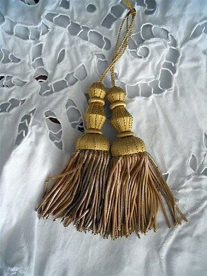 2 French antique  gold metallic tassel 19th-century gold threads passementery