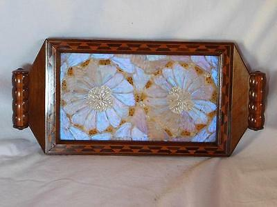 A Lovely Antique Inlaid Tea Tray With Butterfly Wing Decoration