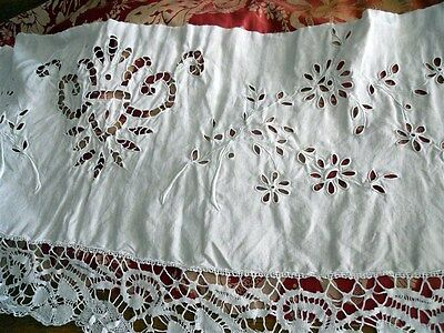 French antique valance canopy tablecloth linen embroideries 19th-cent