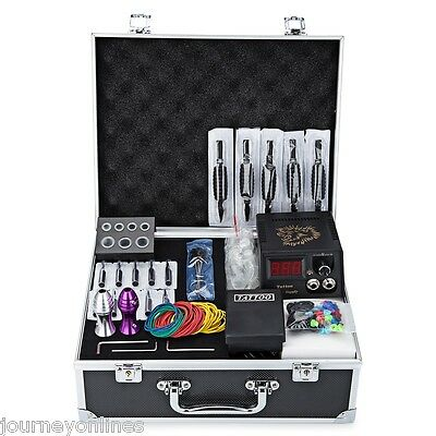 Solong  Complete Tattoo Kits 4 Colorful Machine Guns Power Supply Needle Grips