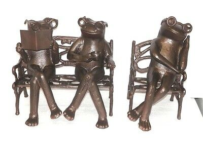 Vintage 3 Cast Iron Frogs On Bench & Chair Very Cool See Pics