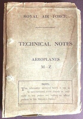 Royal Air Force Technical Notes, Rigging Notes, Aeroplanes WWI 16 Aircraft, Orig
