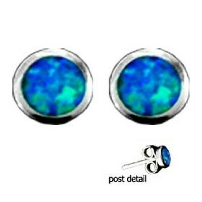 Ancient Greek Sterling Silver Earrings - Circle Opal Gem Stone (13mm)