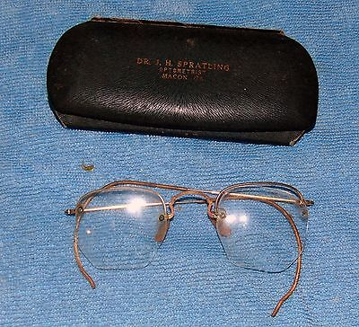 Early 1900's 12K GF Spectacles Glasses w/Case Dr. Spratling Macon, GA Optometry