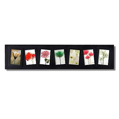Black Plastic 7-Opening Wall Hanging Collage Picture Photo Frame, 2x3-Inch
