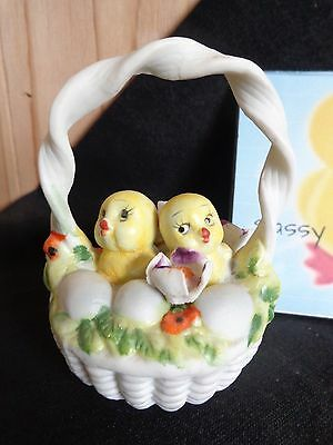 "Porcelain Figurine Yellow CHICKS IN BASKET OF EGGS 3.5"" Purple Flowers Easter"
