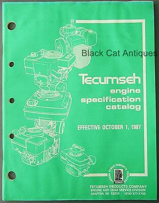 Orig 1987 Lauson Tecumseh Engine Specification Catalog 98pgs Small-Indust Apps