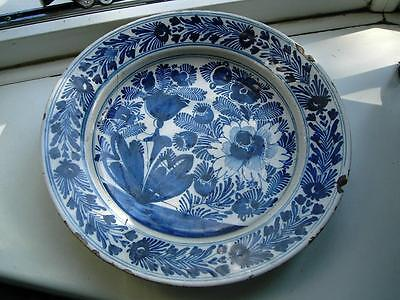 31cm Dutch Delft pottery Charger Tulips &  flowers Blue & white 18thC