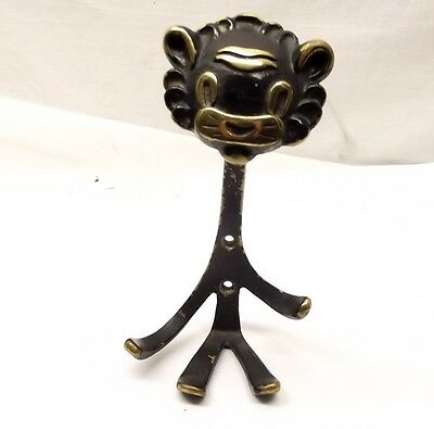 Vtg Walter Bosse Lion Coathook Vienna Bronze Coat Wall Hook Rack Austria Brass