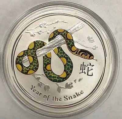 Australian Lunar 2013 - 1 oz Silver Coloured - Year of the Snake in Capsule