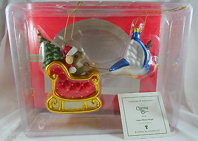 Charming Tails Ornament Santa Mouse Sleigh