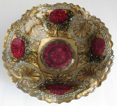 9 Inch Goofus Glass Pomegranate Reverse Painted Bowl               (Inv4428)
