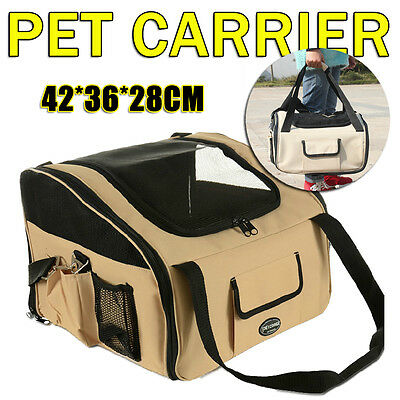 Pet Carrier Dog Cat Car Booster Seat Soft Crate Portable Cage Travel Bag Large