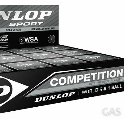12 x Dunlop Competition Squash Ball Single Yellow Dot Intermediate Player