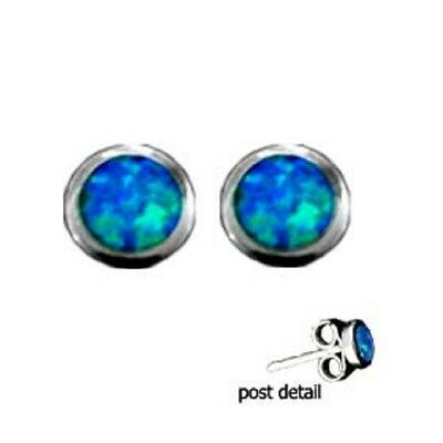 Ancient Greek Sterling Silver Earrings - Circle Opal Gem Stone (9mm)