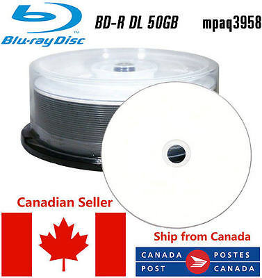 25 BD-R DL 6x 50GB, DUAL LAYER BLANK PRINTABLE GLOSSY WHITE FROM CANADA