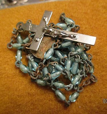 Old Vintage Religious Blue Glass Bead Rosary Prayer Bead Cross Necklace