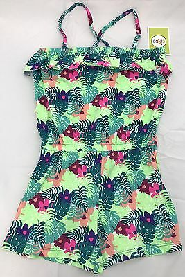 Circo Girls One-Piece Romper Jumper Shorts Size 6 Green Palms Ruffle NWT