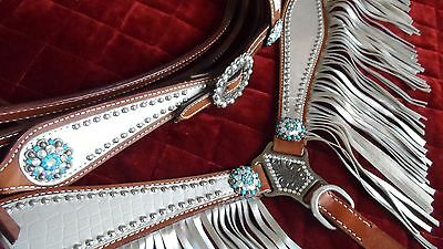 Western/rodeo Horse - Bridle, Reins, Breast Plate - Fringed Metallic