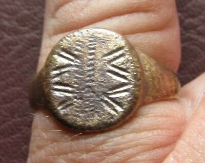 Ancient Artifact > Medieval Bronze Finger Ring SZ: 11 1/2 US 21mm 14755 DR
