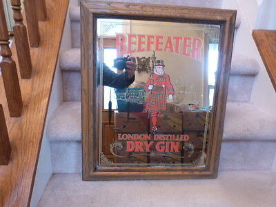"GREAT! VINTAGE Pub Bar Mancave Mirror Sign BEeFEATER Dry Gin 12""x16"""