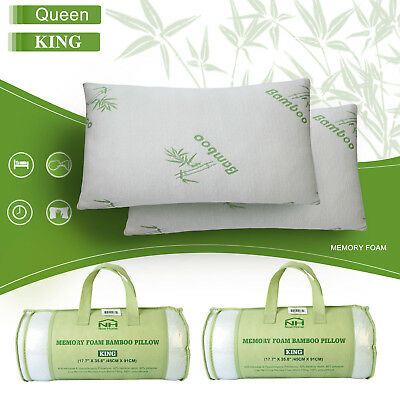 2 PACK Queen Hotel Bamboo Pillow Memory Foam Hypoallergenic Cool Comfort NEW