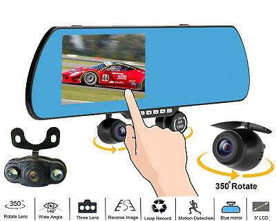 "5"" HD 1080P Android GPS Navigation Rear View Mirror Camera CAR DVR Dash Cam W840"