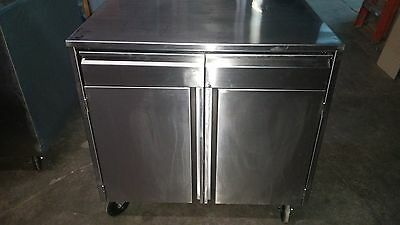Custom stainless steel cabinet work top table with 2 drawers and 2 doors NSF APP