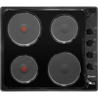 Candy PLE64N Built In 58cm 4 Burners Solid Plate Hob Black New
