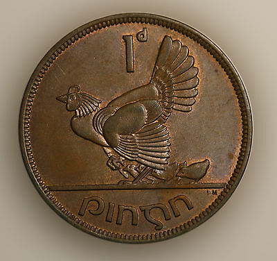 1948 Ireland Pingin -  Penny Bronze aUNC Coin RED Mint Luster