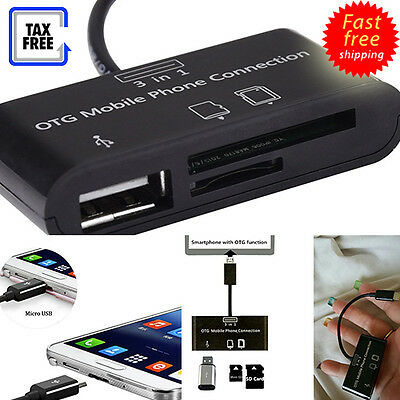 3 in 1 Card Reader Video Photo Android Phones Micro USB SD TF OTG Adaptor Kit